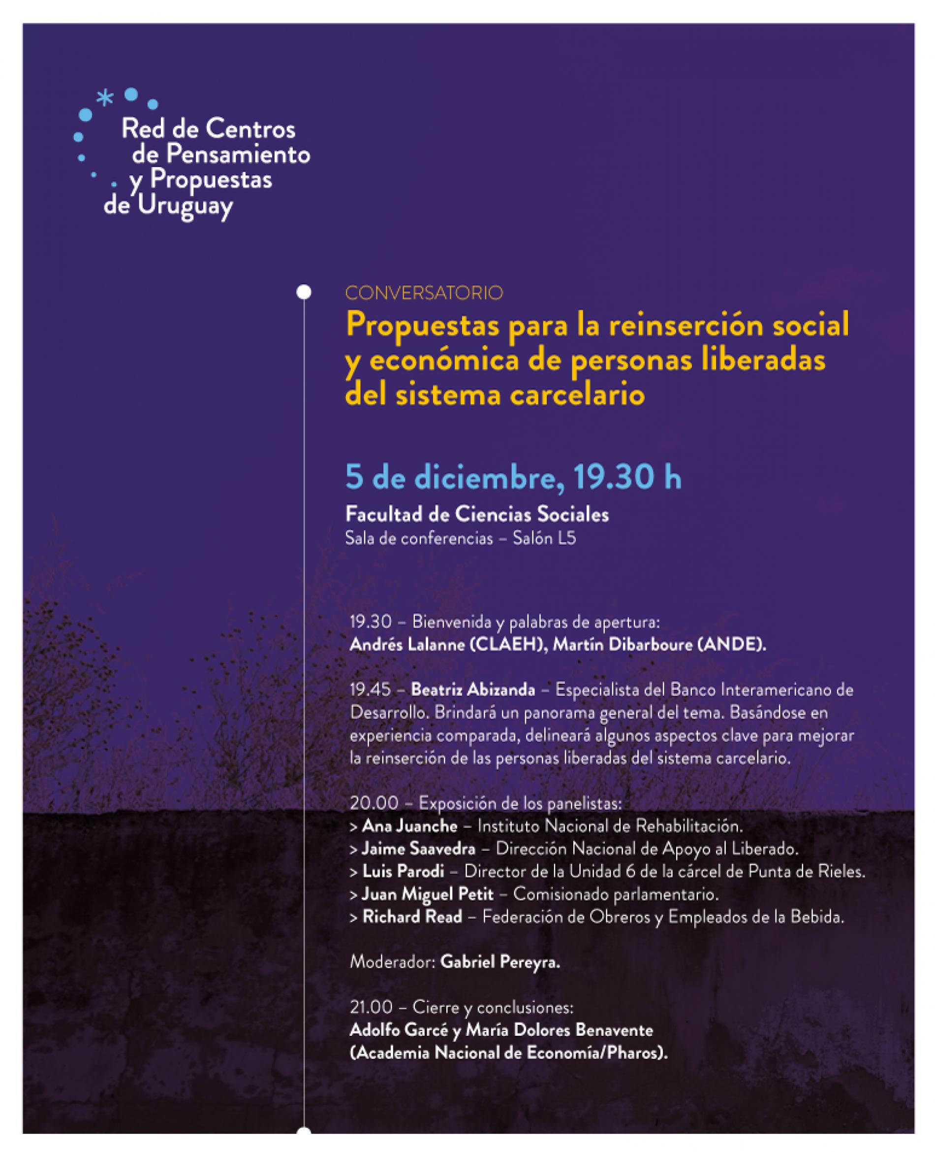 Conversatorio: Propuestas para la reinserción social y económica de personas liberadas del sistema carcelario