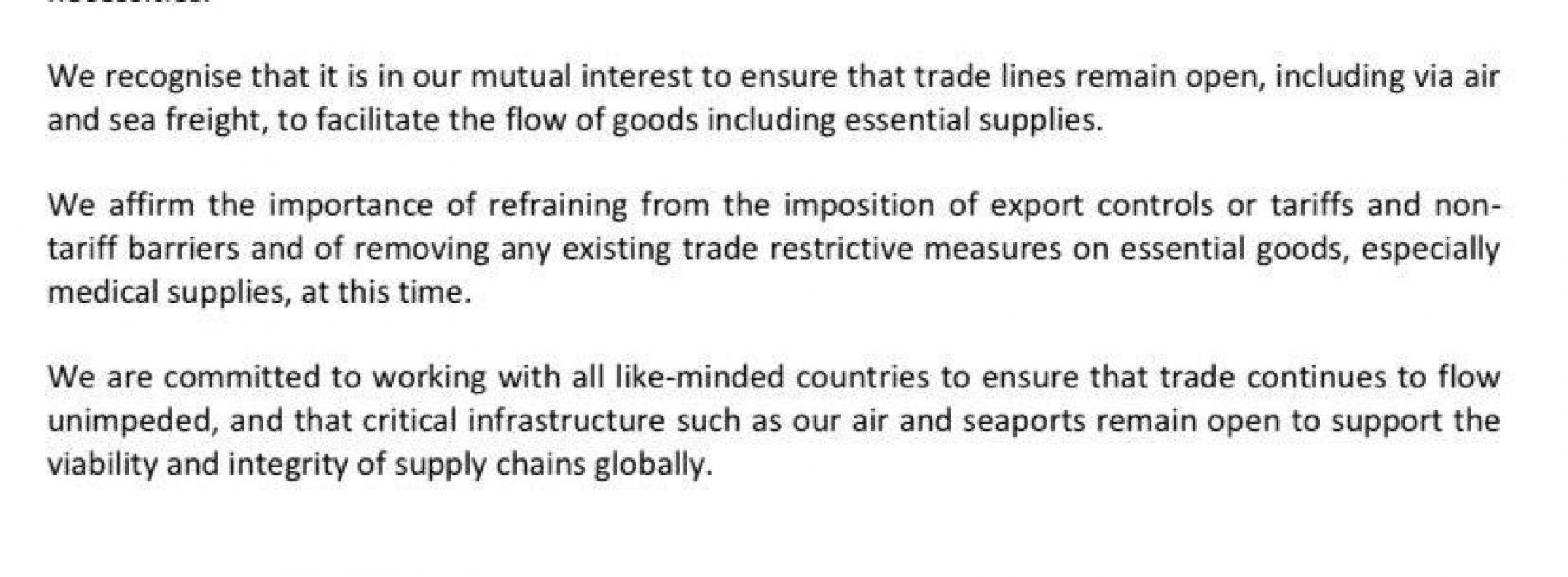 Declaración:  nos comprometemos a contribuir a mitigar impacto de COVID-19  en el comercio global y a mantener cadenas de suministro de bienes esenciales abiertas y conectadas.